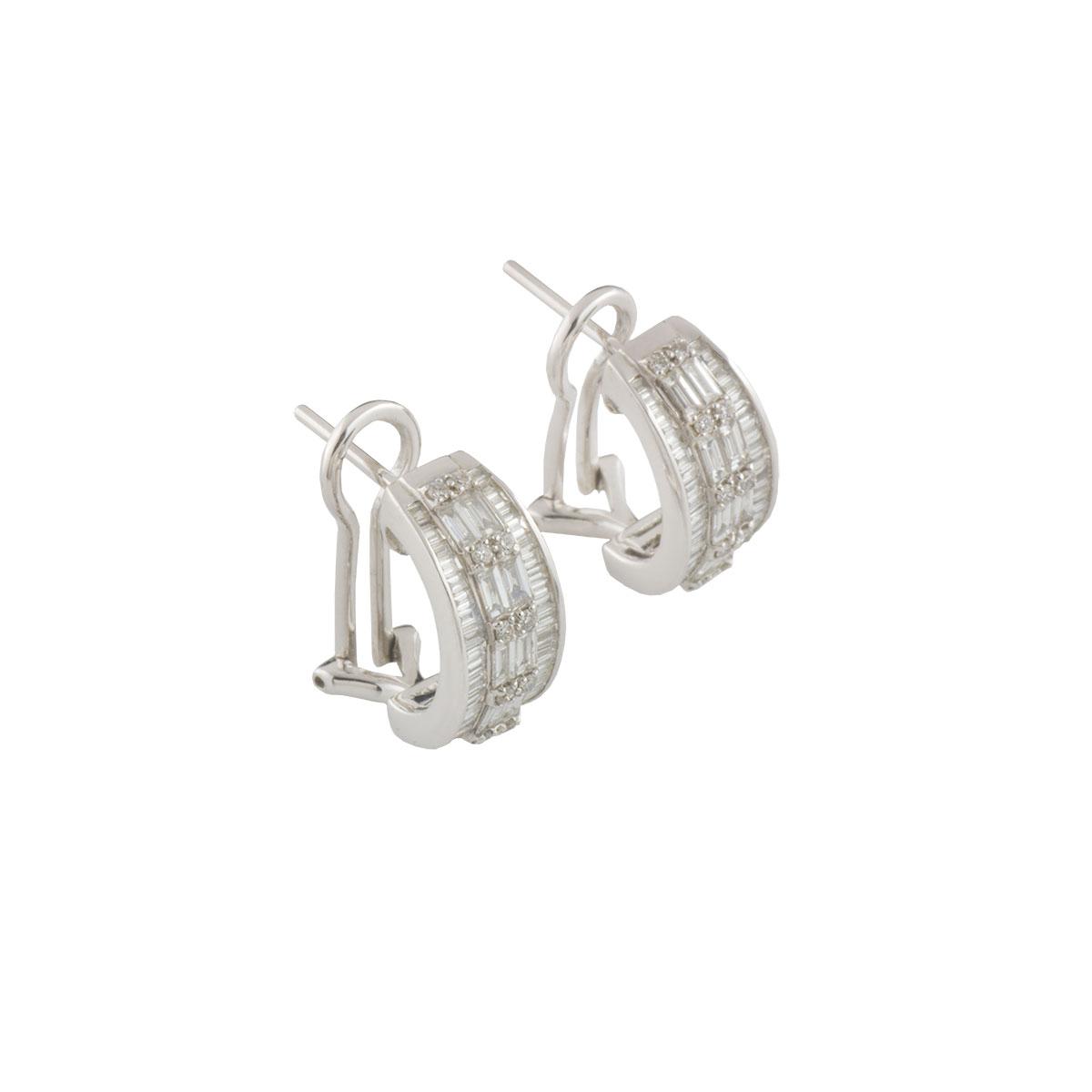 White Gold Diamond Cluster Earrings 1.71ct G-H/VS-VVS